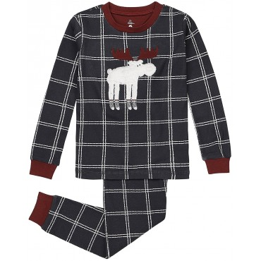 Petit Lem - Boys Grey Moose Pyjamas - 100% Cotton