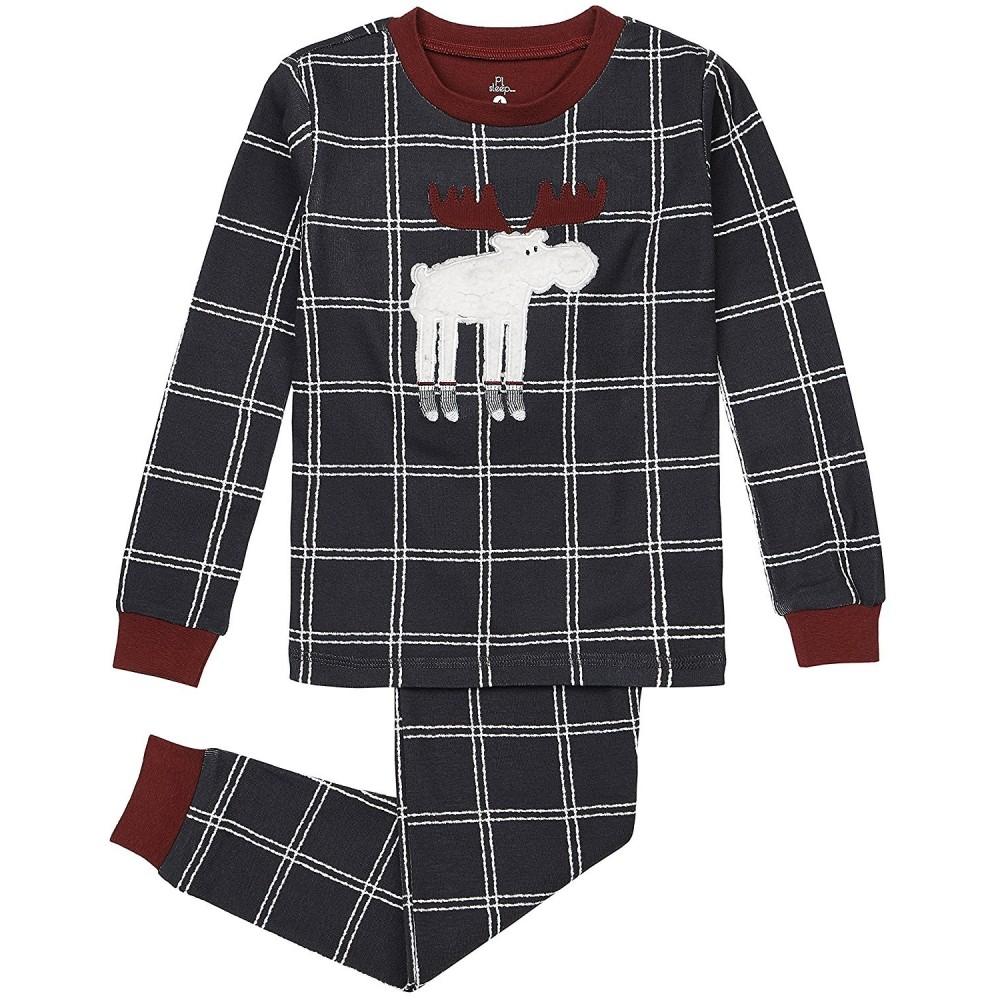 Petit Lem - Boys Grey Moose Pyjamas - 100% Cotton