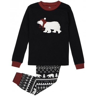 Petit Lem - Boys Black Polar Bear Pyjamas - 100% Cotton