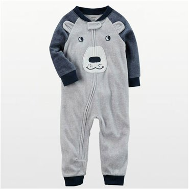 Carters - Boys Bearface Footless Microfleece Onesie