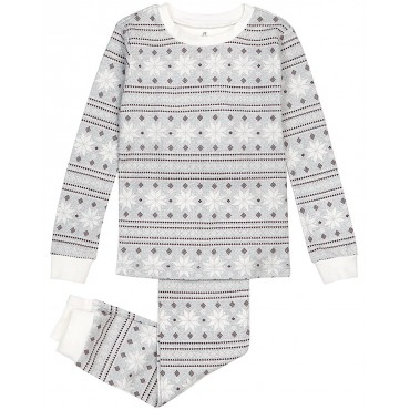 Petit Lem - Grey Snowflake Pyjamas in Stretchy Cotton