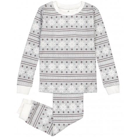 Petit Lem - Grey Snowflake Pyjamas in Stretchy Cotton