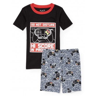 Boys -  Black & Red Game Controller Summer Pyjamas