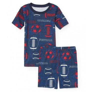 Boys - Blue Football Print Pyjamas