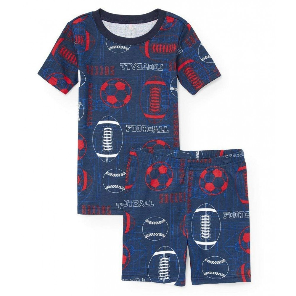 Boys - Blue Football Print Pyjamas