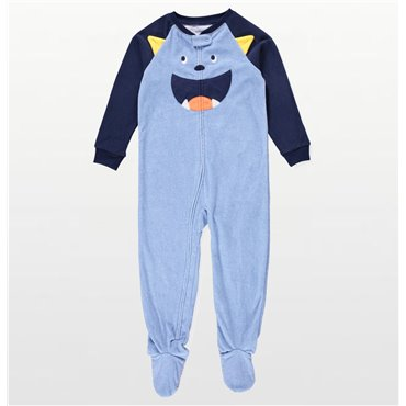Carters - Boys Little Blue Monster Microfleece Onesie Pyjamas