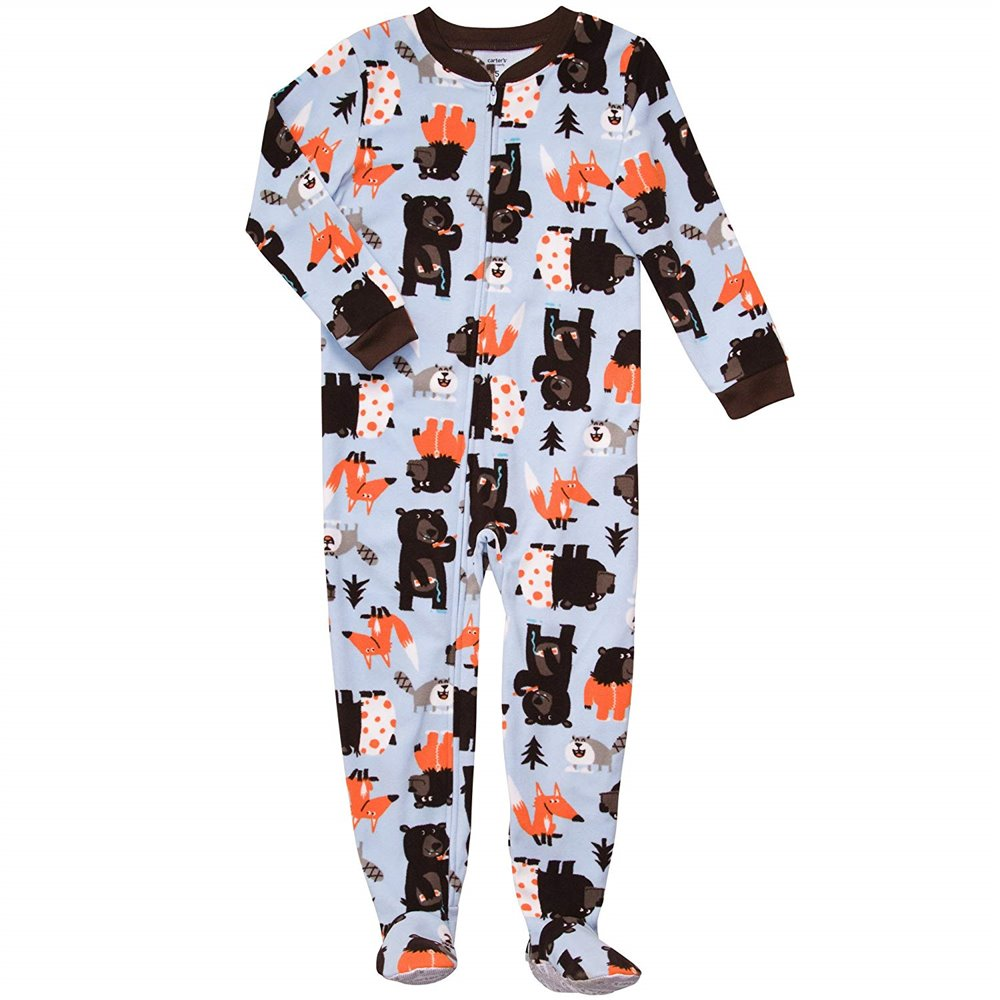 Carters -  Boys Blue Multi Bears Microfleece Onesie Pyjamas