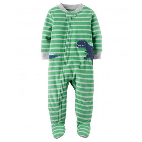 Carters - Boys Green Striped Dinosaur Microfleece Onesie Pyjamas