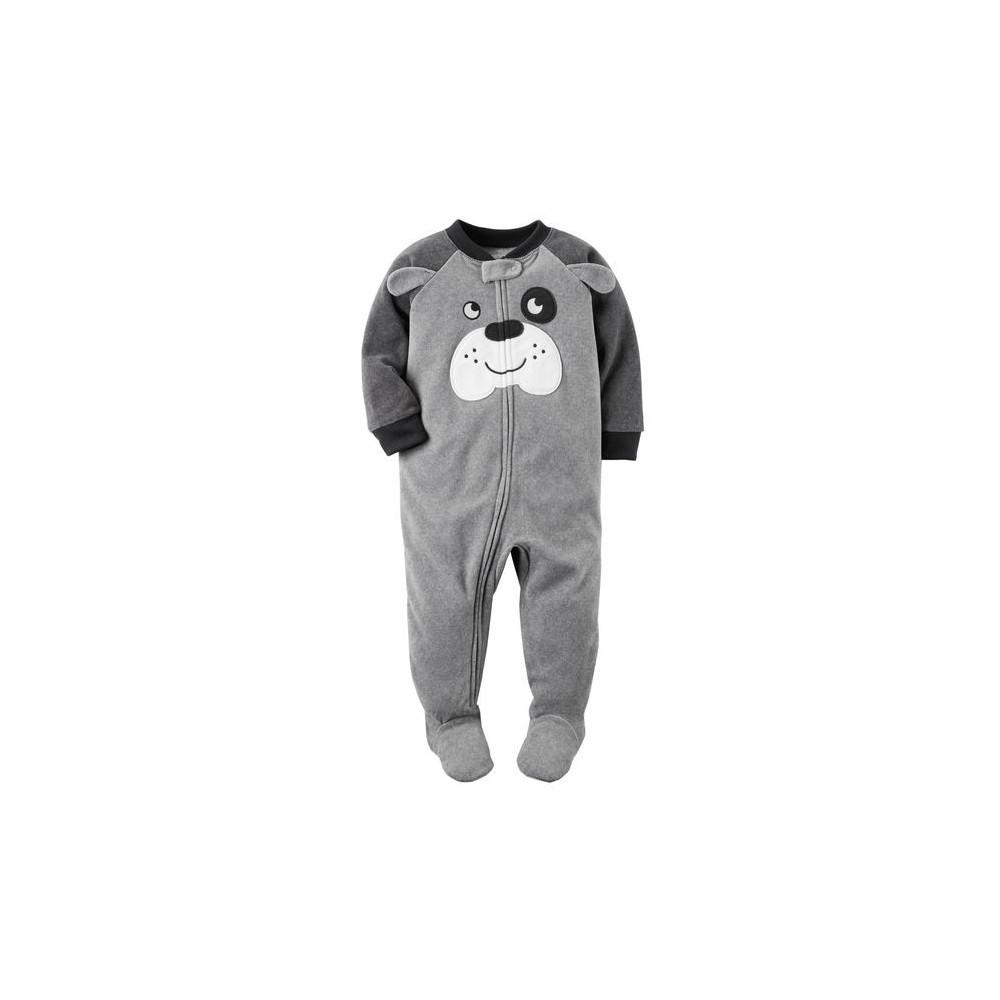 Carters - Boys Grey Puppy Face Microfleece Onesie