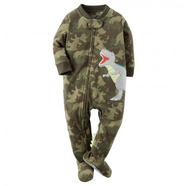 Carters - Boys Camoflague Dinosaur Microfleece Onesie Pyjamas