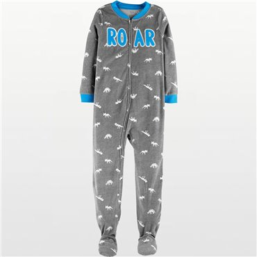 Carters - Boys Grey Roar Microfleece Onesie Pyjamas