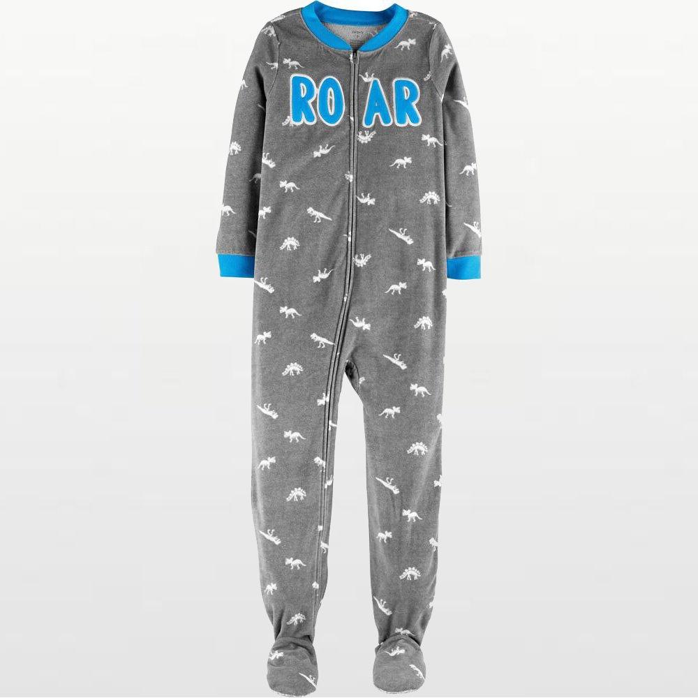 Carters - Boys Grey Roar Microfleece Onesie Pyjamas