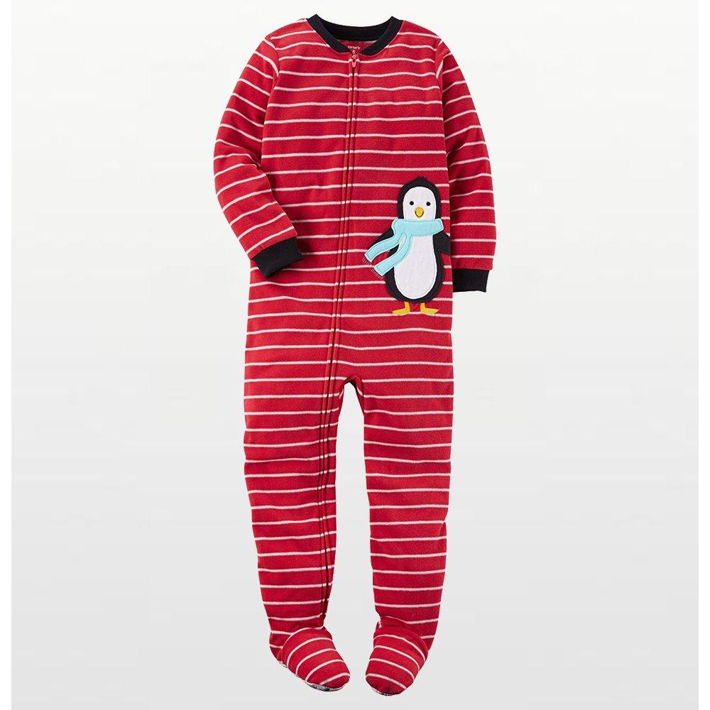 Carters - Boys Red Stripe Penguin Microfleece Onesie Pyjamas