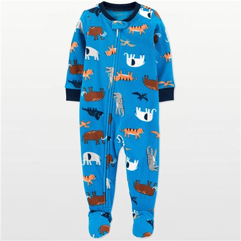 Carters - Boys Blue Animals Microfleece Onesie Pyjamas