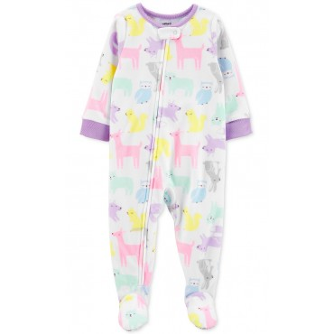 Carters - Girls White Critter Microfleece Onesie Pyjamas
