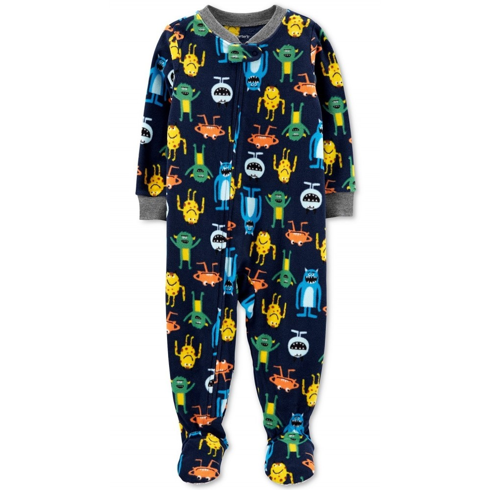 Carters - Boys Navy Monsters Microfleece Onesie Pyjamas