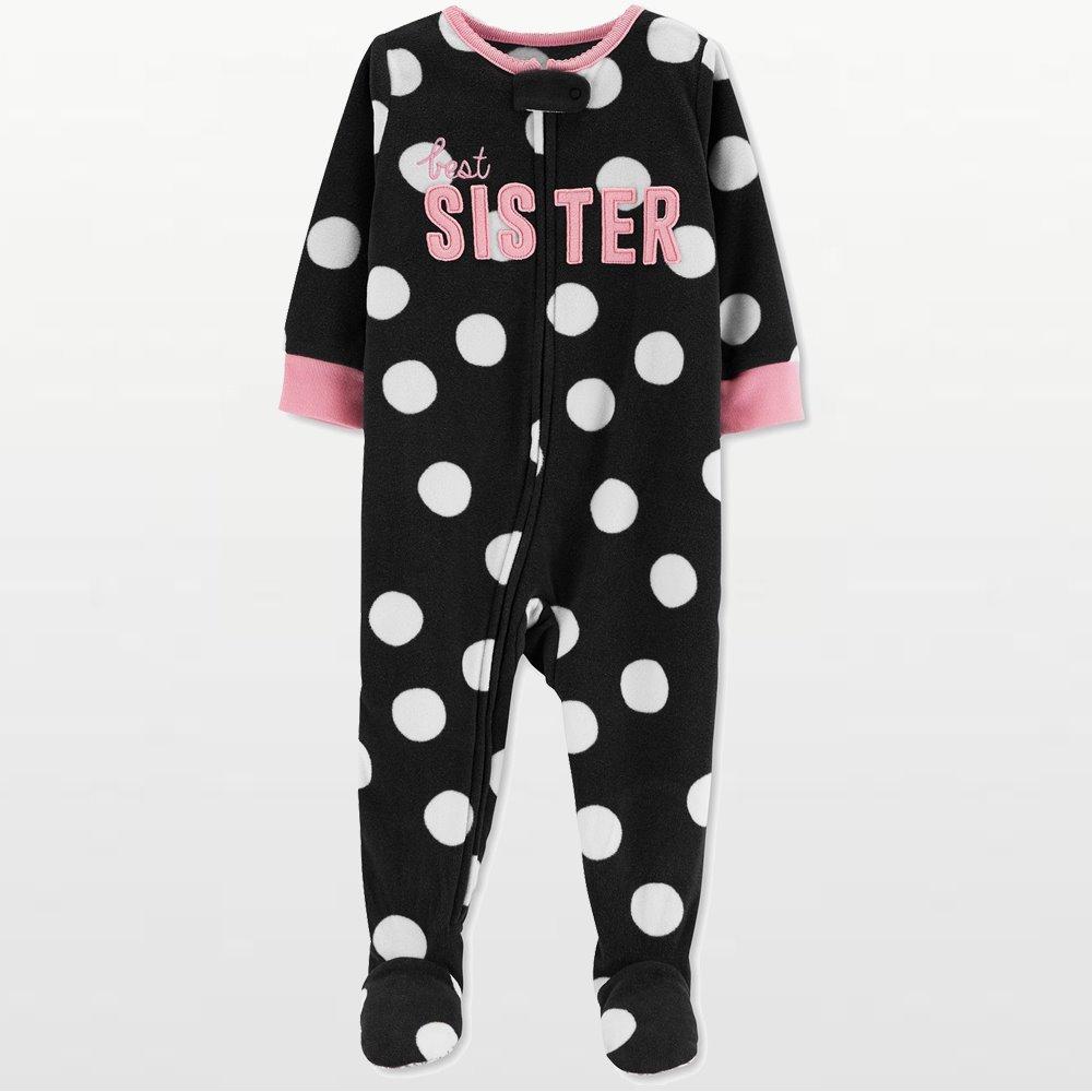 Carters - Girls Black Best Sister Microfleece Onesie Pyjamas