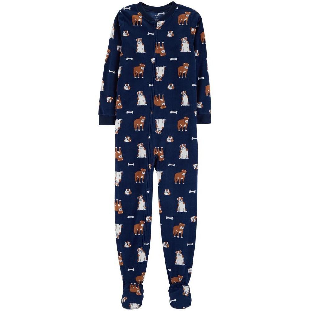 Carters - Boys Navy Bulldogs Microfleece Onesie Pyjamas