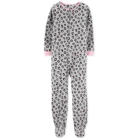 Carters - Girls Grey Animal Print Microfleece Onesie Pyjamas