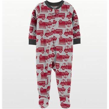 Carters - Boys Red Fire Trucks Microfleece Onesie Pyjamas