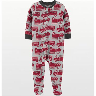 Carters - Boys Red Fire Trucks Microfleece Onesie Pyjamas - Little Boys