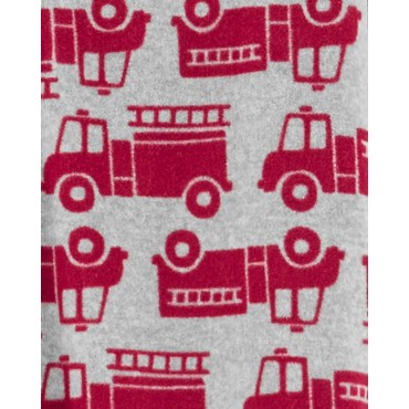 Carters - Boys Red Firetrucks Microfleece Onesie Pyjamas