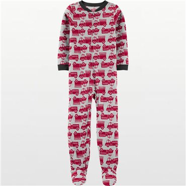 Carters - Boys Red Fire Trucks Microfleece Onesie Pyjamas - Big Boys