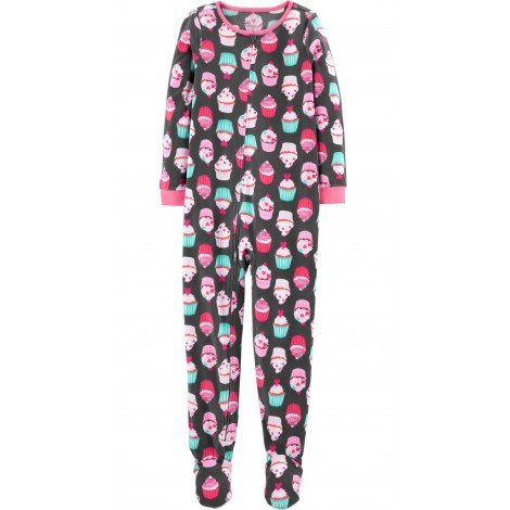Carters - Girls Grey Cupcakes Microfleece Onesie Pyjamas