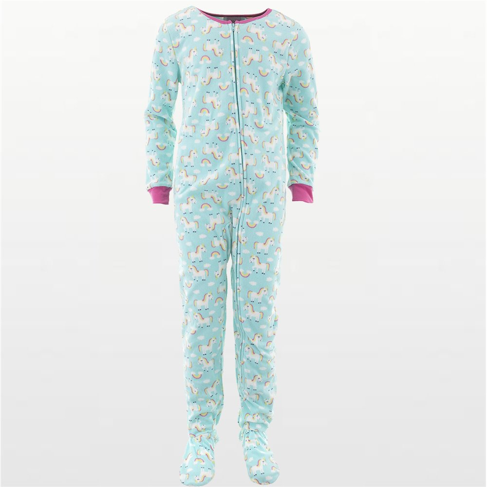 Girls - Mint Green Fleece Pyjamas Onesie with Unicorn Print