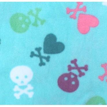 Girls - Aqua Hearts & Skulls Onesie Footed Pyjamas
