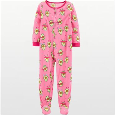 Carters - Girls Pink Avocado Microfleece Onesie Pyjamas