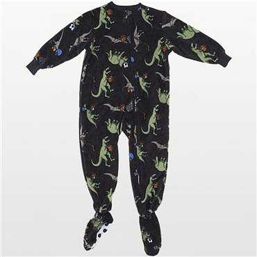 Komar Kids - Boys Dinosaur Print Fleece Onesie Pyjamas