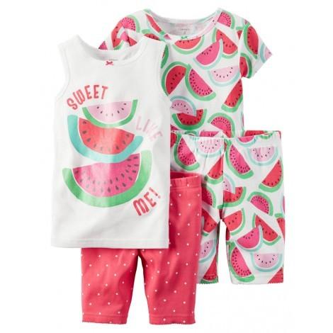 Carters - Girls 4 piece Cotton Pjs - Watermelon Print