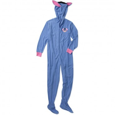Disney -  Eeyore Fleece Footed Onesie with Hood