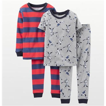 Carters - Boys 4 piece Cotton Pjs - Baseball  Print