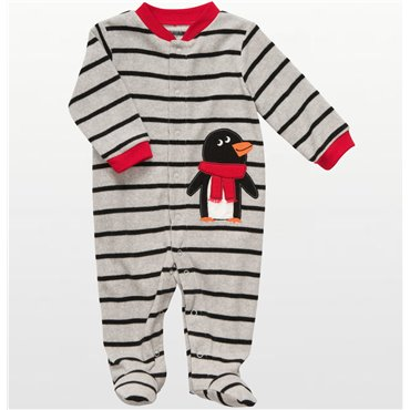 Carter's - Striped Penguin Microfleece Sleep & Play - Baby
