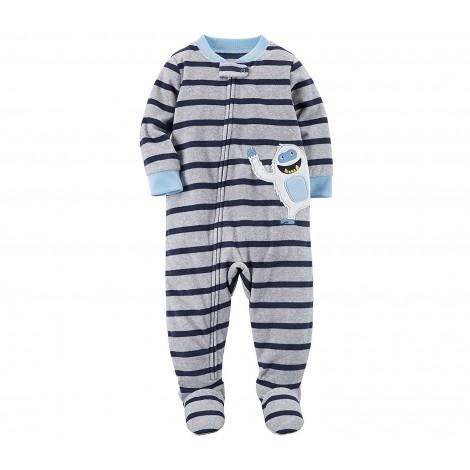 Carters - Boys Grey Striped Yeti Onesie Pyjamas