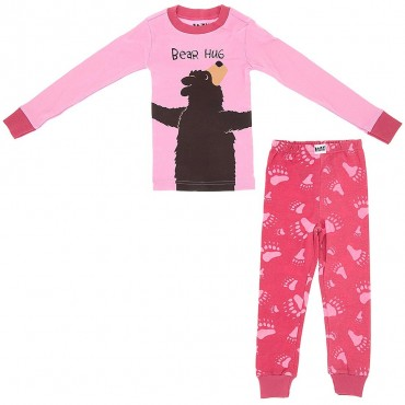 LazyOne - Girls Pink Bear Hug Pyjamas