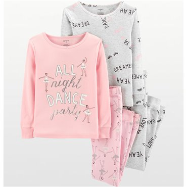 "Carters - Girls 4 piece  Pink ""All Night Dance Party"" Pyjamas"