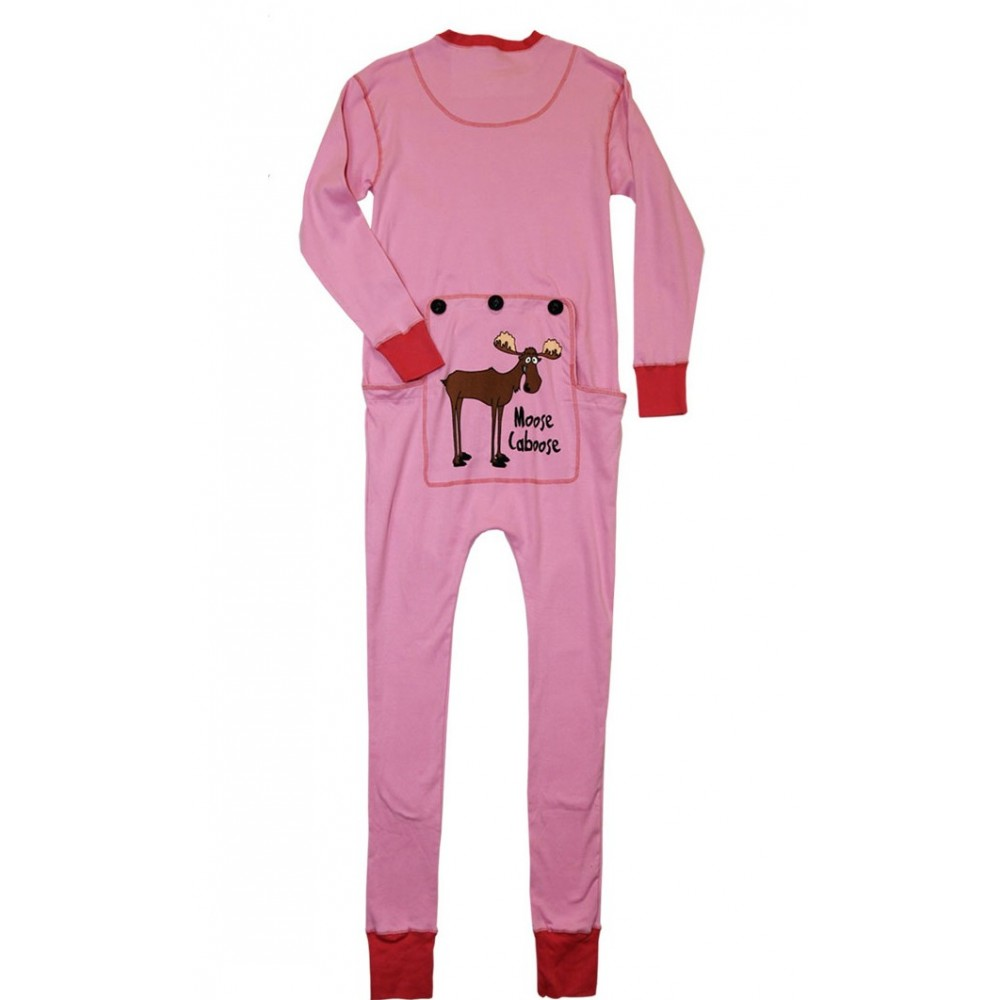 Adult - Pink Moose Caboose Onesie Cotton Pj's