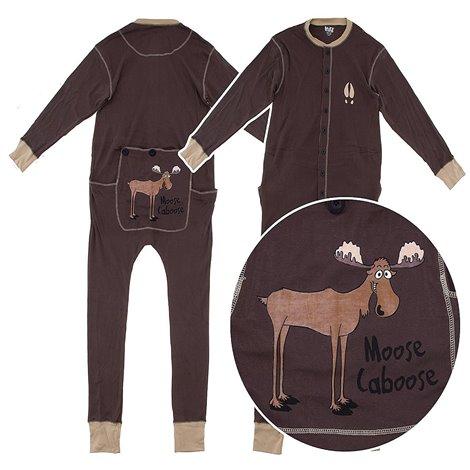 Adult - Brown Moose Caboose Cotton Onesie Pjs