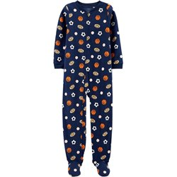 Carters - Boys Navy Sports Microfleece Onesie Pyjamas