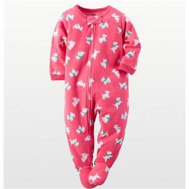 Carter's - Girls Cotton Pink Scottie Dog Onesie Pyjamas
