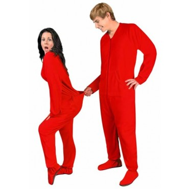 Adult - Fleece Onesie - Red Drop Seat