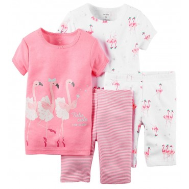 Carters - Girls 4 piece Cotton Pjs - Pink Flamingo's