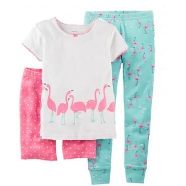 Carter's - Girls 3 piece Cotton Pyjamas - Flamingo