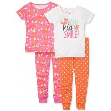 Carters - Girls 4 piece Cotton Pyjamas - You make me smile
