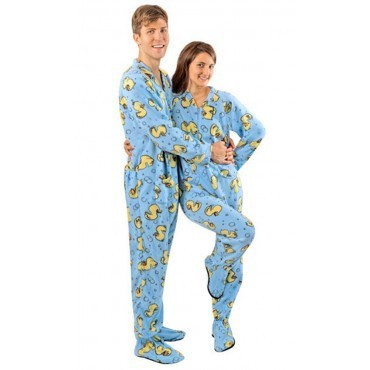 Adult - Fleece Onesie - Blue Rubber Ducks with Dropseat
