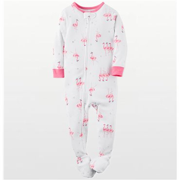 Carter's -  Girls Cotton White Flamingo's Onesie Pyjamas