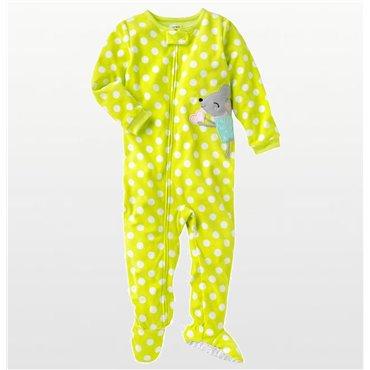 Carters - Girls Yellow Spotted Mouse Microfleece Onesie Pyjamas
